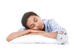 Young mulatto woman sleeping on pillow Royalty Free Stock Photo