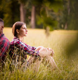 Young multi racial couple turned away Stock Images