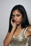 Young Multiracial Beauty with Cell Phone (1) Royalty Free Stock Photos