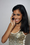 Young Multiracial Beauty with Cell Phone (2) Royalty Free Stock Photo