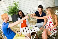 Young multiracial friends at cafe Stock Image