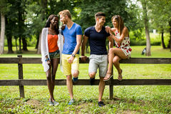 Young multiracial friends in the park Stock Photos