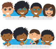 Young multiracial teens having fun in outdoor swimming pool. Cheerful girls and boys relaxing and drinking cocktails in the pool. Young multiracial teens having Stock Photo