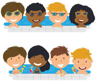 Young multiracial teens having fun in outdoor swimming pool. Royalty Free Stock Photography
