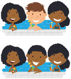Young multiracial teens relaxing and drinking cocktails. Cheerful girls and boys relaxing and drinking cocktails in the pool. Young multiracial teens having Stock Images