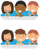 Young multiracial teens relaxing and drinking cocktails in the s. Cheerful girls and boys relaxing and drinking cocktails in the pool. Young multiracial teens Stock Image