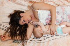 Young mum and baby. Stock Photo