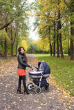 Young mum walks with pram in the autumn yellow park. Young mum walks with her baby in the pram in the autumn yellow park Stock Images