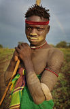 Young Mursi warrior in South Omo, Ethiopia Royalty Free Stock Images