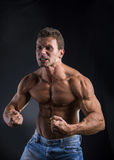 Young muscular athlete posing Stock Images