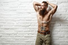 Young muscular bearded white man half naked. Standing against white wall Royalty Free Stock Photos