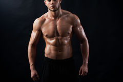 Young muscular fit sportsman posing shirtless on black backgroun. Horizontal cropped studio portrait of a confident young athletic man posing shirtless showing Royalty Free Stock Images