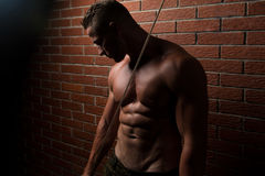Young Muscular Fitness Bodybuilder Doing Heavy Weight Exercise F stock photo