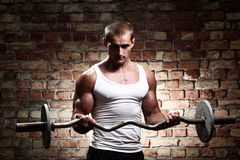 Young muscular guy training biceps with barbell. Muscular guy is training biceps with barbell against a brick wall royalty free stock images