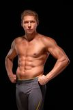 Young muscular handsome shirtless sportsman demonstrating muscles Royalty Free Stock Photos