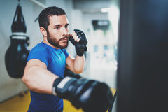Young muscular kickboxing fighter practicing kicks with punching bag.Kick boxer boxing as exercise for the fight.Boxer. Hits punching bag.Concept of a healthy royalty free stock photos