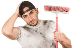 Young muscular latin cleaner Royalty Free Stock Photography