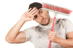Young muscular latin cleaner Stock Photo