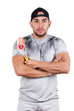 Young muscular latin construction painter Stock Image