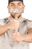 Young muscular latin construction worker Royalty Free Stock Images