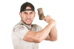 Young muscular latin construction worker Stock Photos