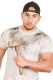 Young muscular latin construction worker Royalty Free Stock Photography