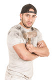 Young muscular latin construction worker Stock Images