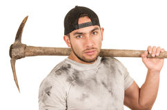Young muscular latin construction worker Stock Photography