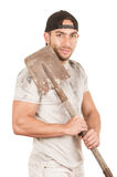 Young muscular latin construction worker Stock Photo