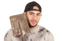 Young muscular latin construction worker Royalty Free Stock Photo