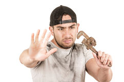 Young muscular latin construction worker Royalty Free Stock Image
