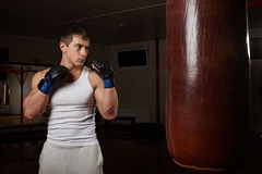 Young muscular man boxer workout with punching bag Stock Image