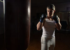 Young muscular man boxer workout with punching bag Stock Images