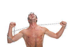Young muscular man with a chain Royalty Free Stock Photo