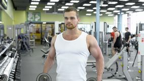 Young muscular man doing exercise with dumbbells in the gym. portrait of male bodybuilder at the gym exercising royalty free stock photography