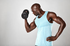 Young muscular man doing heavy dumbbell exercise Stock Images