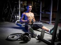 Young muscular man in gym Royalty Free Stock Photo