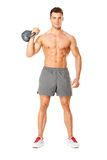 Young muscular man lifting weights on white Stock Image