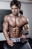 Young muscular sexy man workout in gym Royalty Free Stock Photo