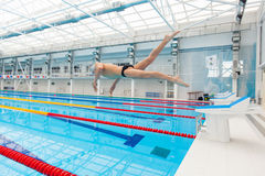 Young muscular swimmer jumping from starting block in a swimming pool Royalty Free Stock Image