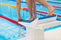 Young muscular swimmer in low position on starting block in a swimming pool Royalty Free Stock Photo