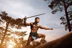 Young muscular warrior with a sword at the mountains. Graceful masculinity. Young muscular warrior with a sword lurking carefully in the woods at the dusk Royalty Free Stock Images