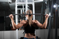 Young muscular woman doing workout Royalty Free Stock Images