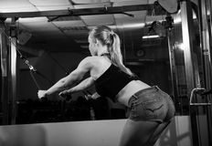 Young muscular woman doing workout Stock Photo