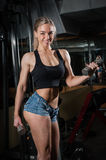 Young muscular woman doing workout. At the gym Royalty Free Stock Photography