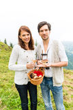 Young mushroom pickers in the Bavarian alps Royalty Free Stock Photo