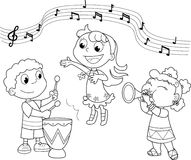 Young Music band. Children playing and singing. Black and white illustration Stock Image