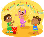 Young Music band. Children playing and singing. Cartoon illustration Stock Photography