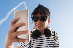 Young music lover royalty free stock photography