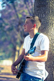 Young musician with a guitar Royalty Free Stock Image
